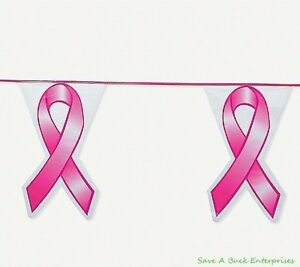 Flags and banners for breast cancer awareness