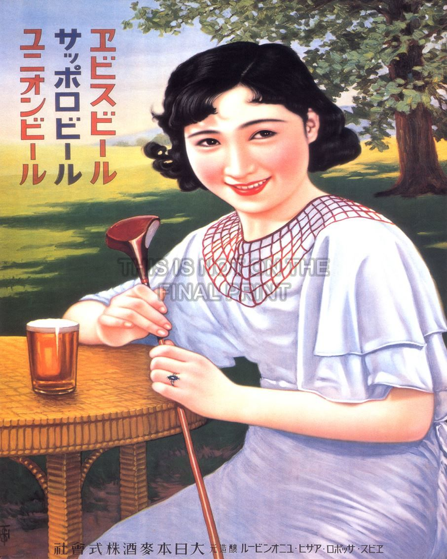 Vintage sapporo beer posters with america people
