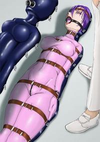 Rubber latex sec fetish women vacbed bondage