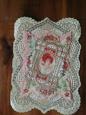 Valentine card reproduction vintage style die cut