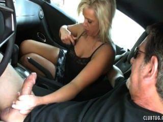 Mom handjob and blowjob in the car