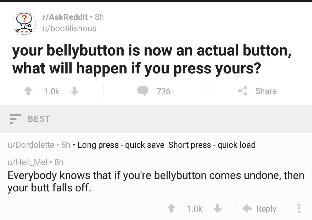Belly button comes undone butt falls off