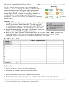 Dating the fossil record worksheet answer key