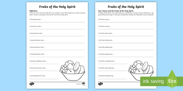 Fruit of the spirit worksheets for adults