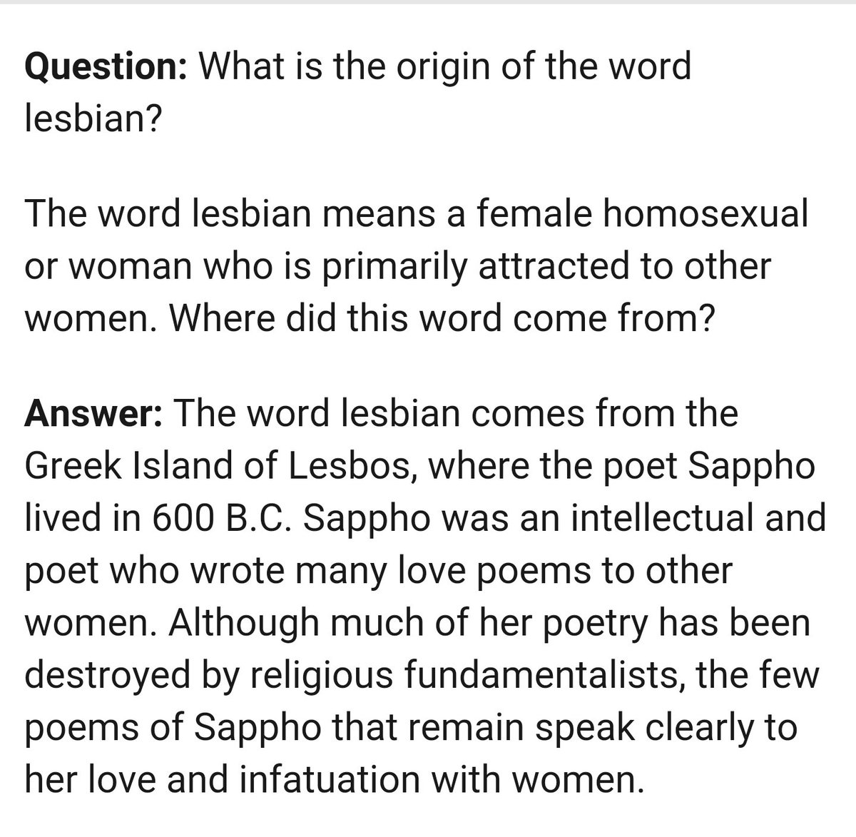 Where did the word lesbian come from