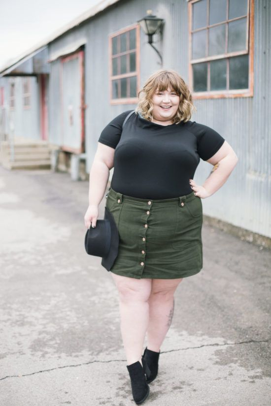 Cute chubby girl in a short skirt