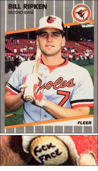Billy ripken fleer card bottom of bat