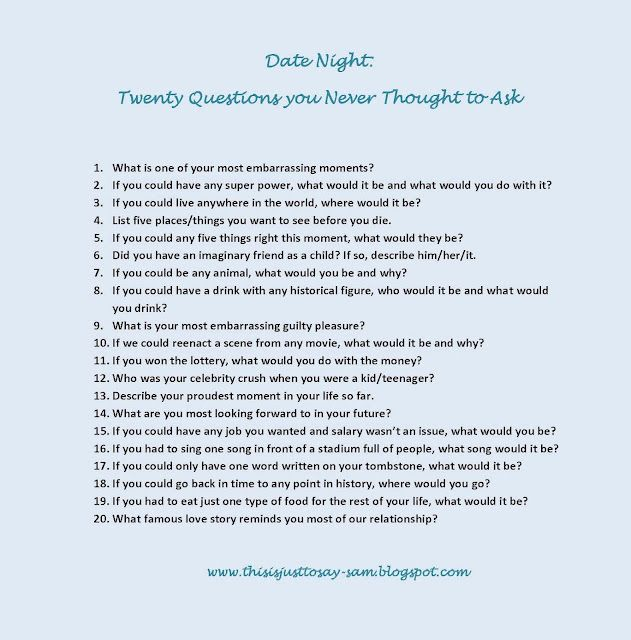 Fun questions to ask on dating sites