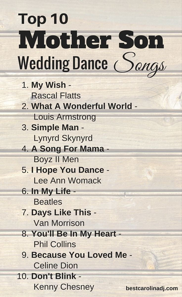 Top mom and son wedding dance songs