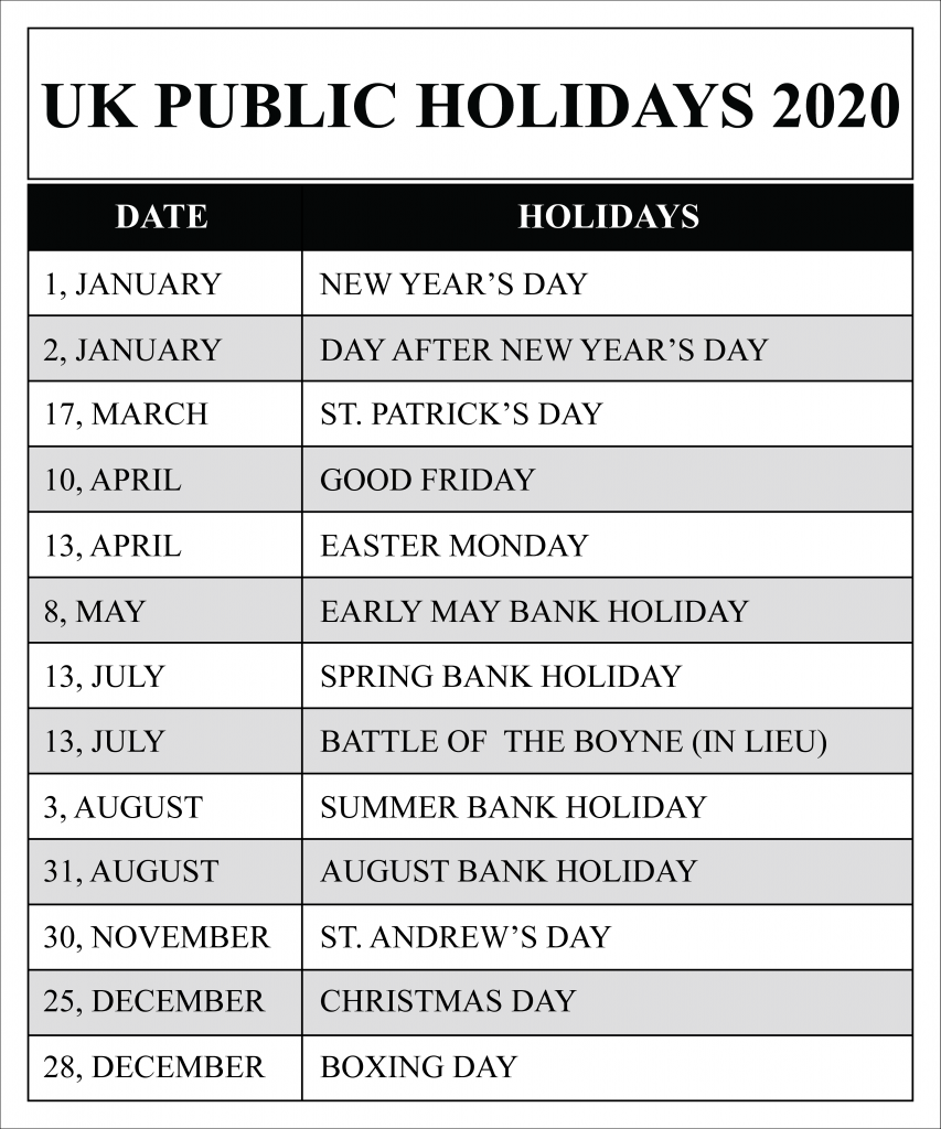What are public holidays in great britain