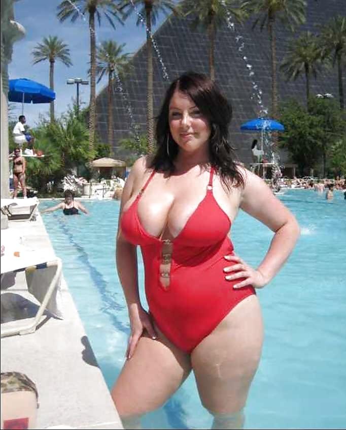 Bbw in a one piece bikini porn