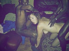 Young blonde girl with black man interracial