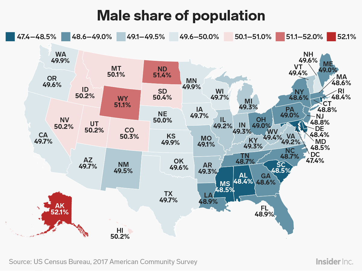 How many men are in the us