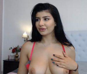 Sexy brunette sucking big cocks in gangbang