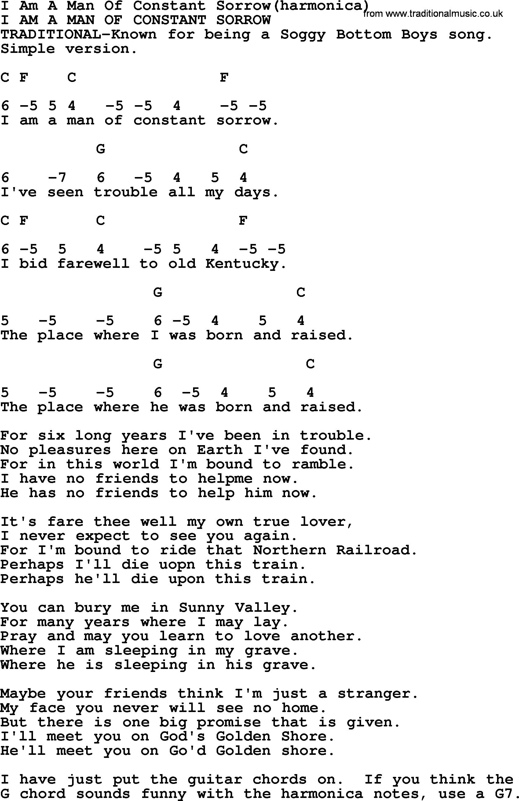 Man of constant sorrow lyrics soggy bottom