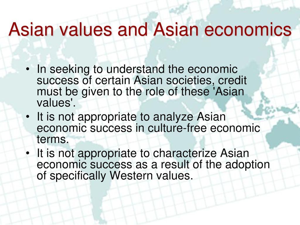 Asian values and it s economic success