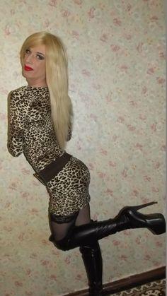 Boot cross dresser heel sock tranny transvestite