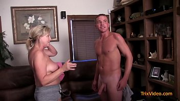 Mom dad blowjob in front of son