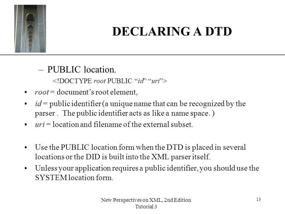 Space required after the public identifier xml
