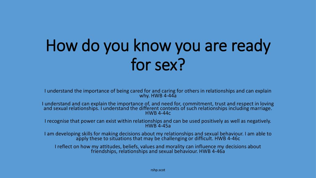 How to know your ready for sex