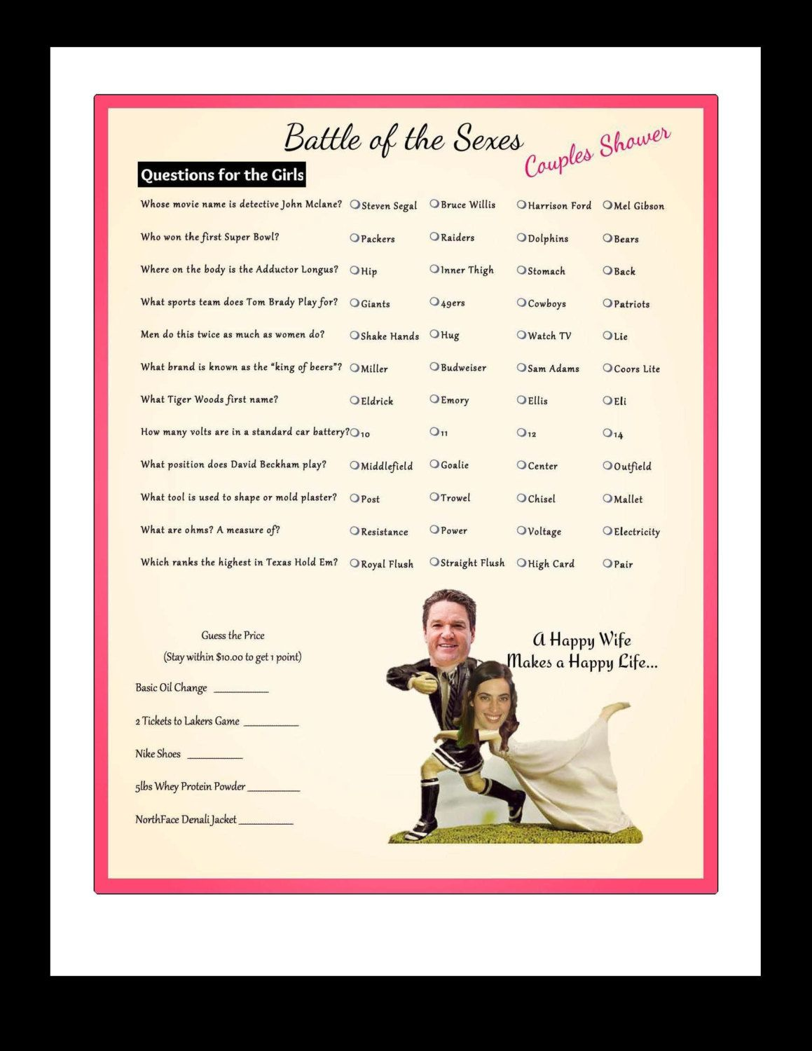 Battle of the sexes questions and answers