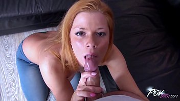 Sexy thick short redhead gives amazing blowjob