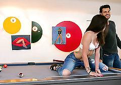 Hot clips lesbian pool table high heel