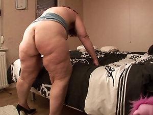 Fucking a bbw fatty mature chubby asshole
