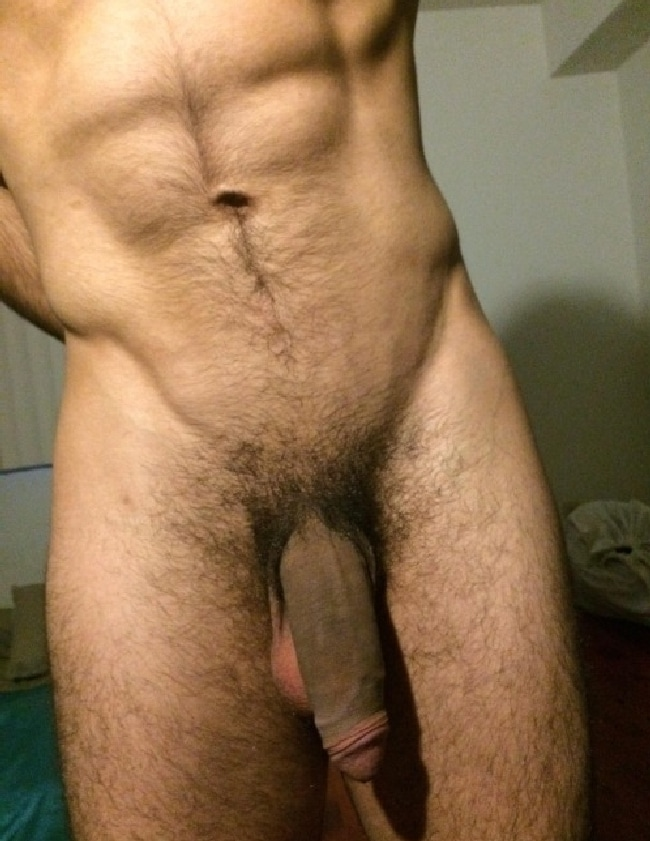 Nude men with soft and hard penises