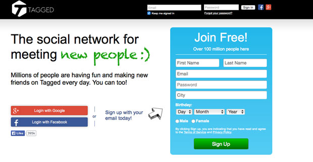 Www tagged com login or sign up
